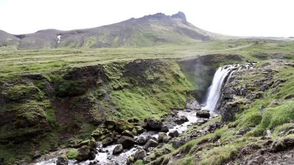 Islandská krajina s vodopády