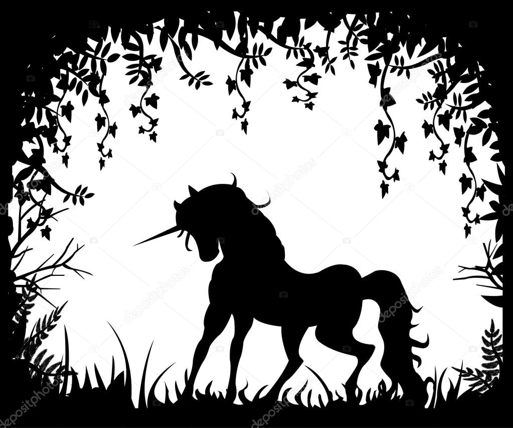 Unicorn silhouette on a background of nature