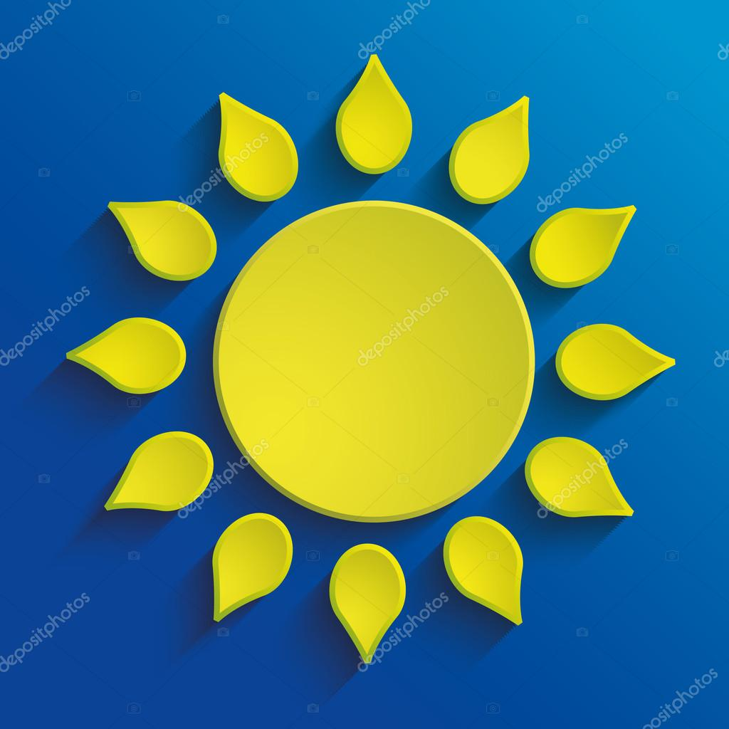 Abstract bright paper sun, vector illustration