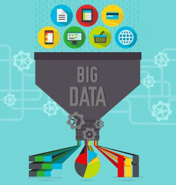 Illustration of big data function and usage stock vector