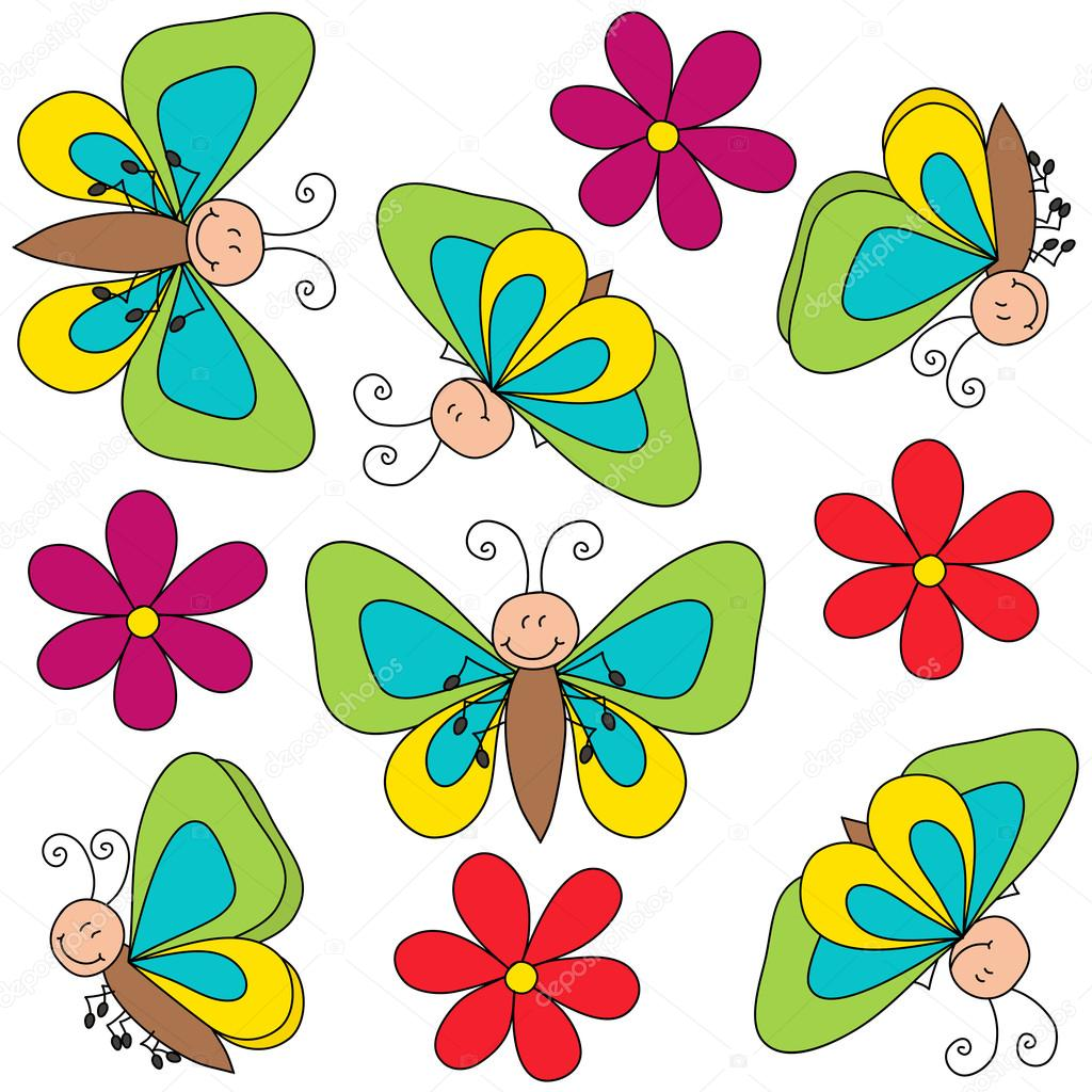 flying butterflies and flowers drawing isolated u2014 stock vector