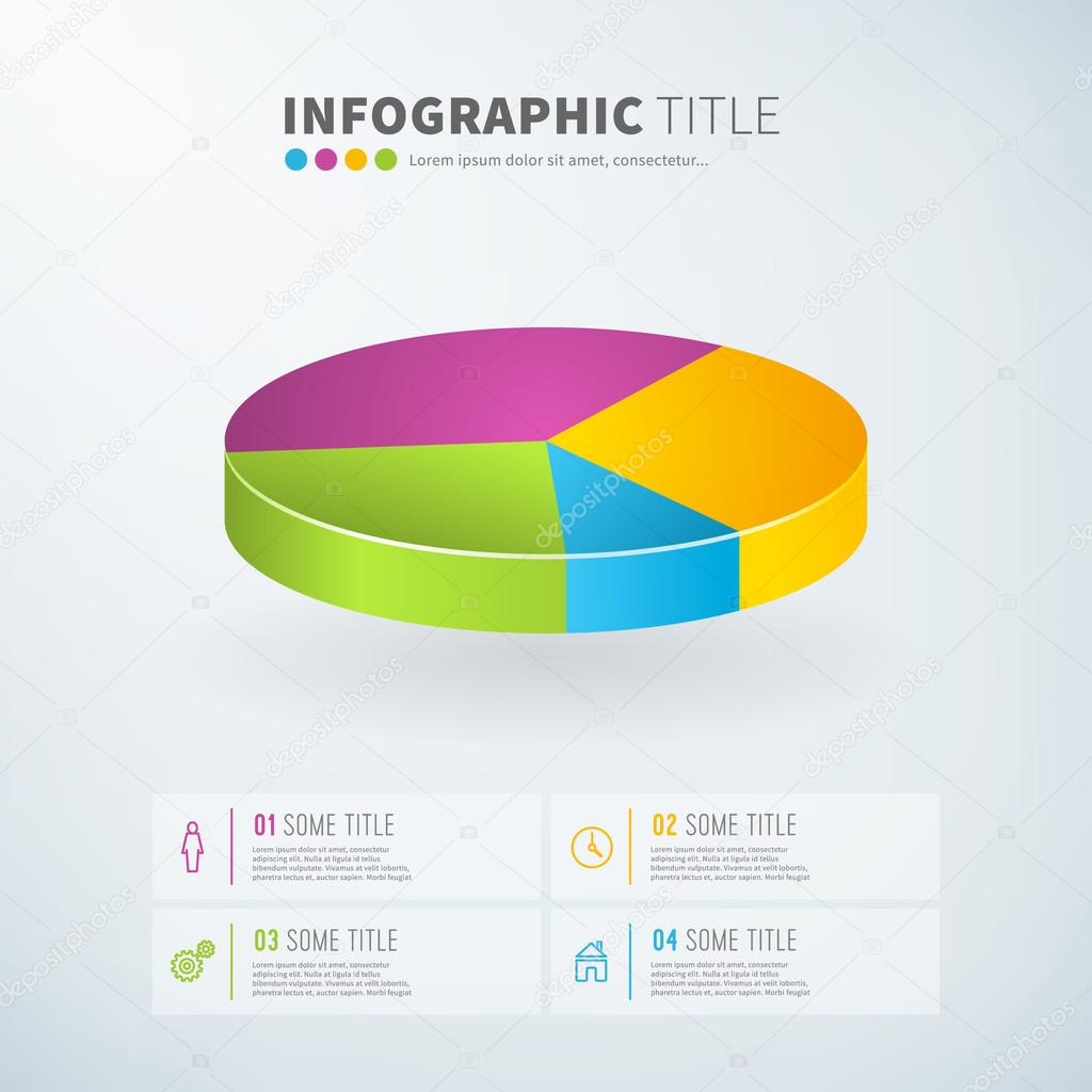 Business Infographic Pie Chart Statistics With Icons Stock Vector