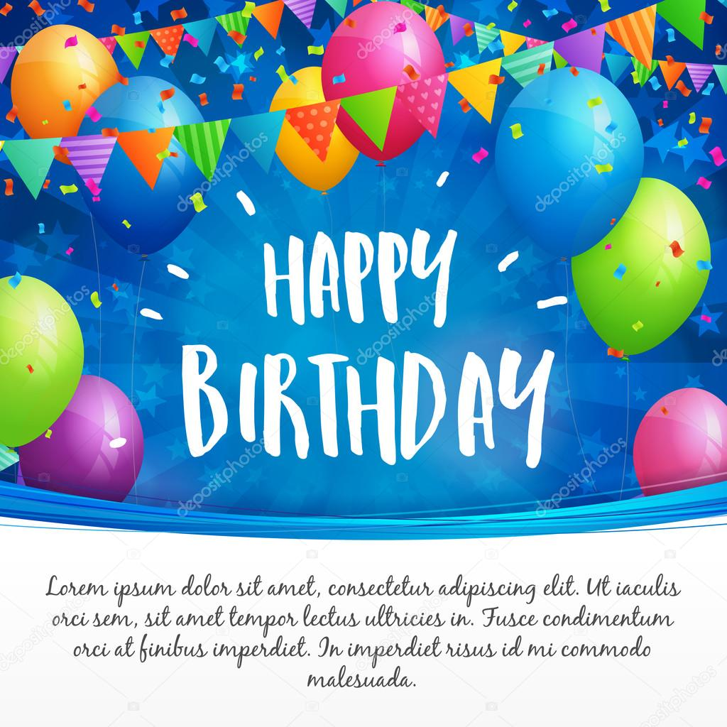Happy birthday greeting card with balloons flags and confetti birthday greeting card with balloons flags and confetti on blurred blue background with stars white space for text vector by sputanski kristyandbryce Image collections