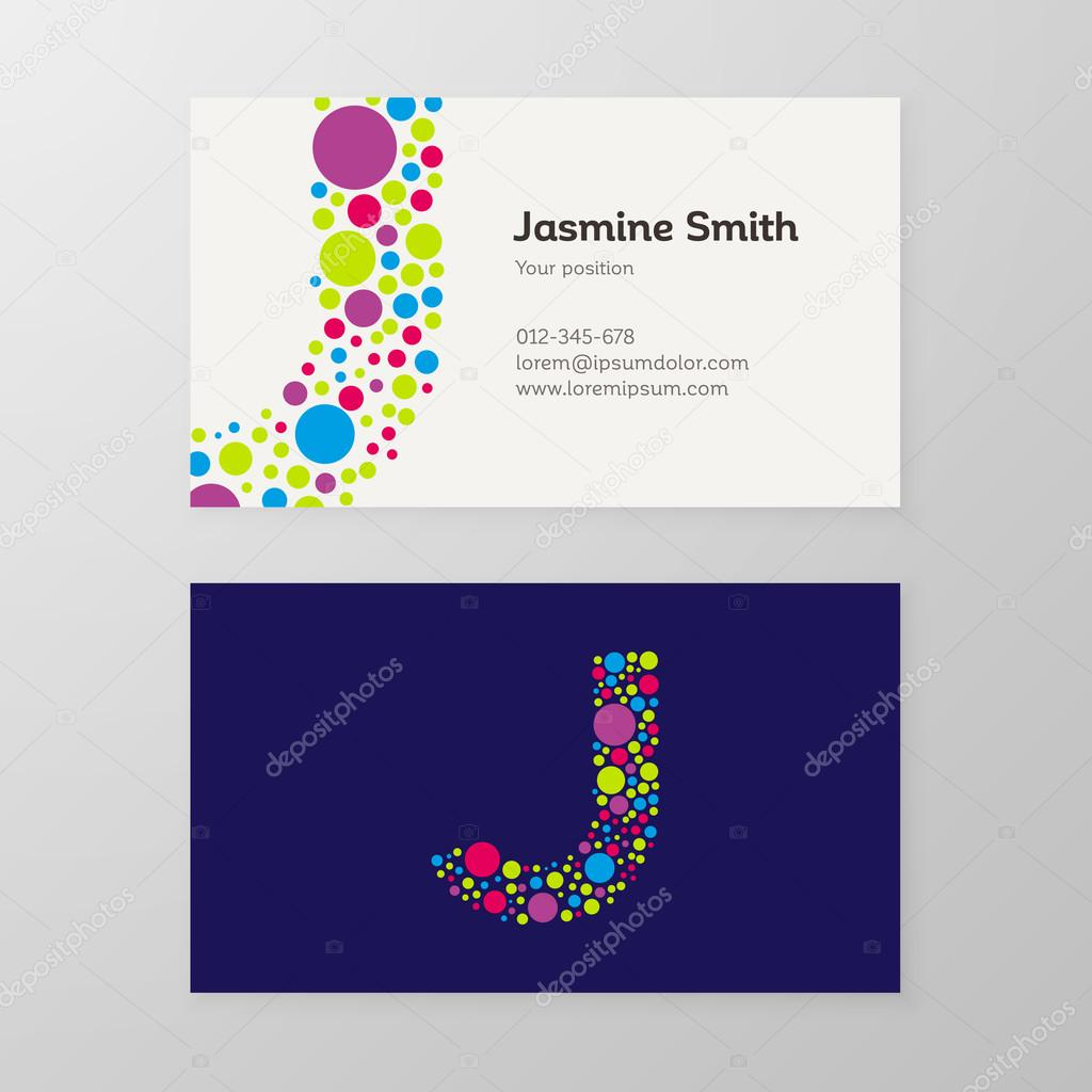 Modern letter J circle Business card template — Stock Vector ...