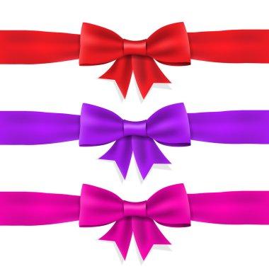 Set red violet pink satin ribbon bow