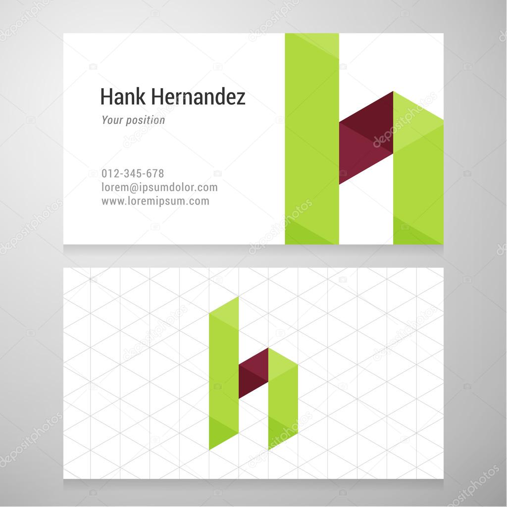 Modern letter h origami business card template stock vector modern letter h origami business card template stock vector jeuxipadfo Gallery