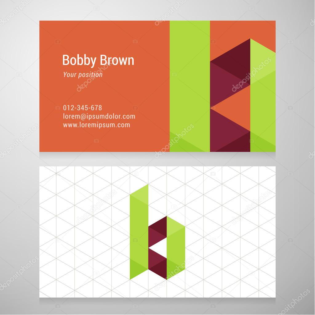 Plantilla de tarjeta de visita moderna letra B origami — Archivo ...