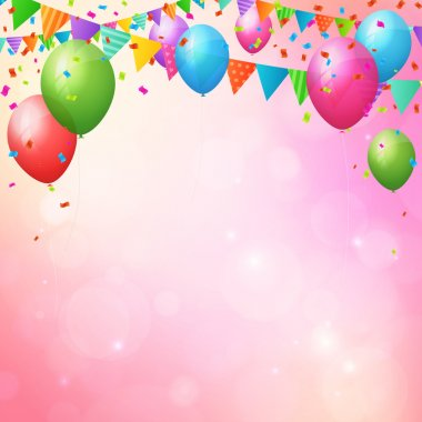 happy birthday background with balloons and flags.