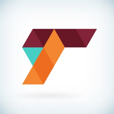 Modern letter T icon flat design element template