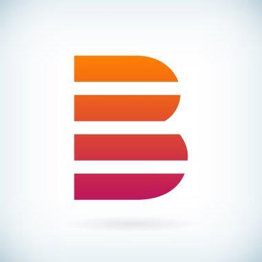 stripes letter B icon design element template