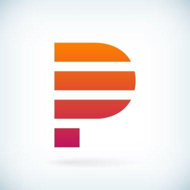 stripes letter P icon design element template