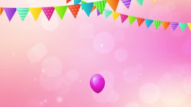narozenin smyčky animace s balóny a příznaky