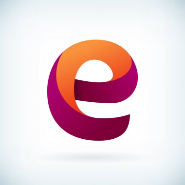 Modern twisted letter E