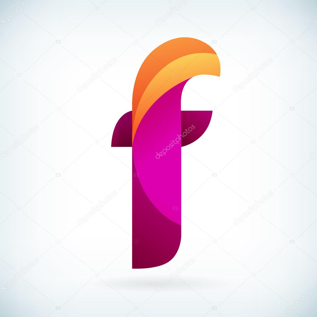 Modern twisted letter F