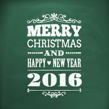 merry christmas and happy new year 2016chlakboard