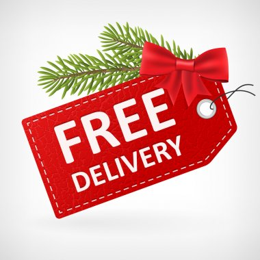 Christmas Red leather free delivery label
