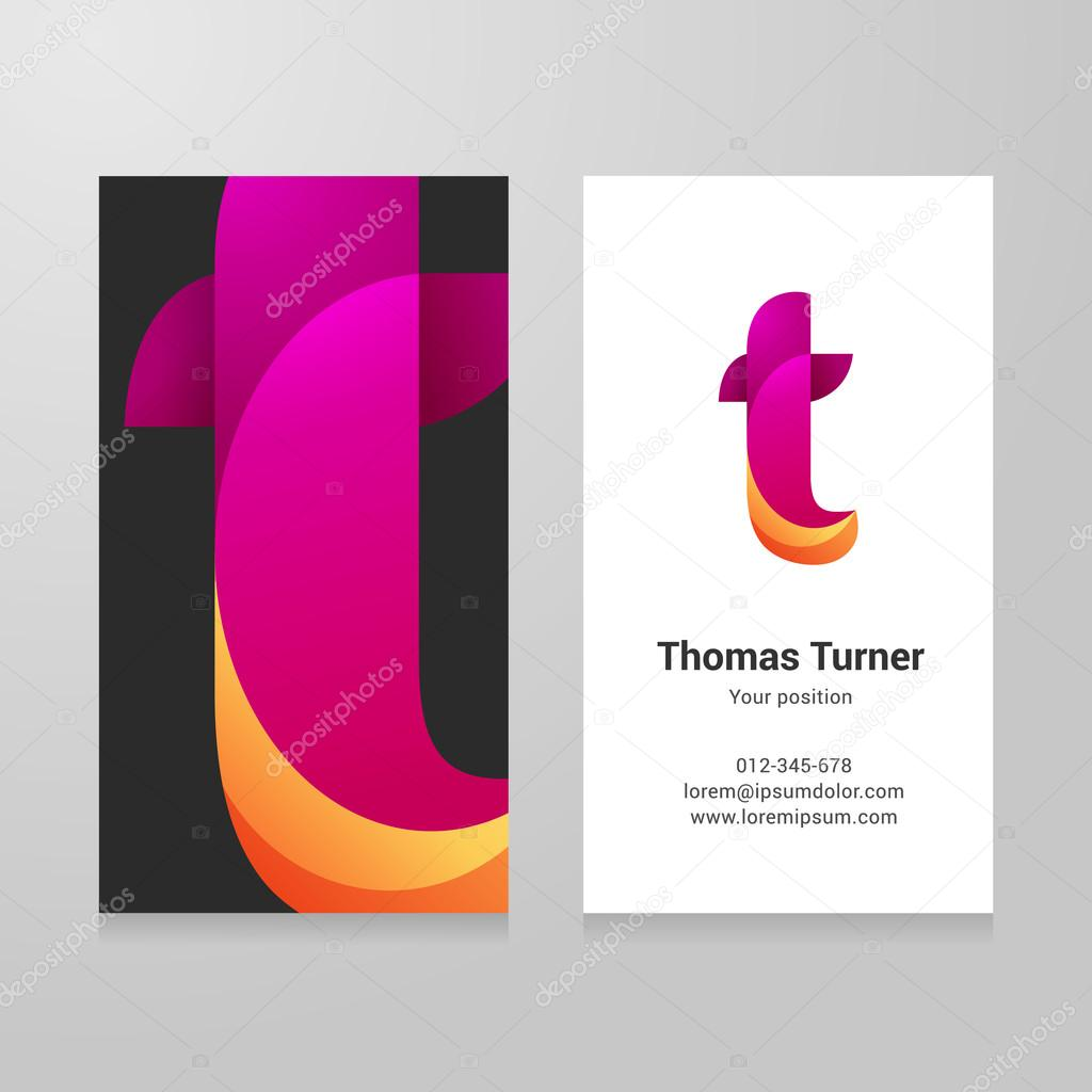 Modern letter t twisted Business card template — Stock Vector ...