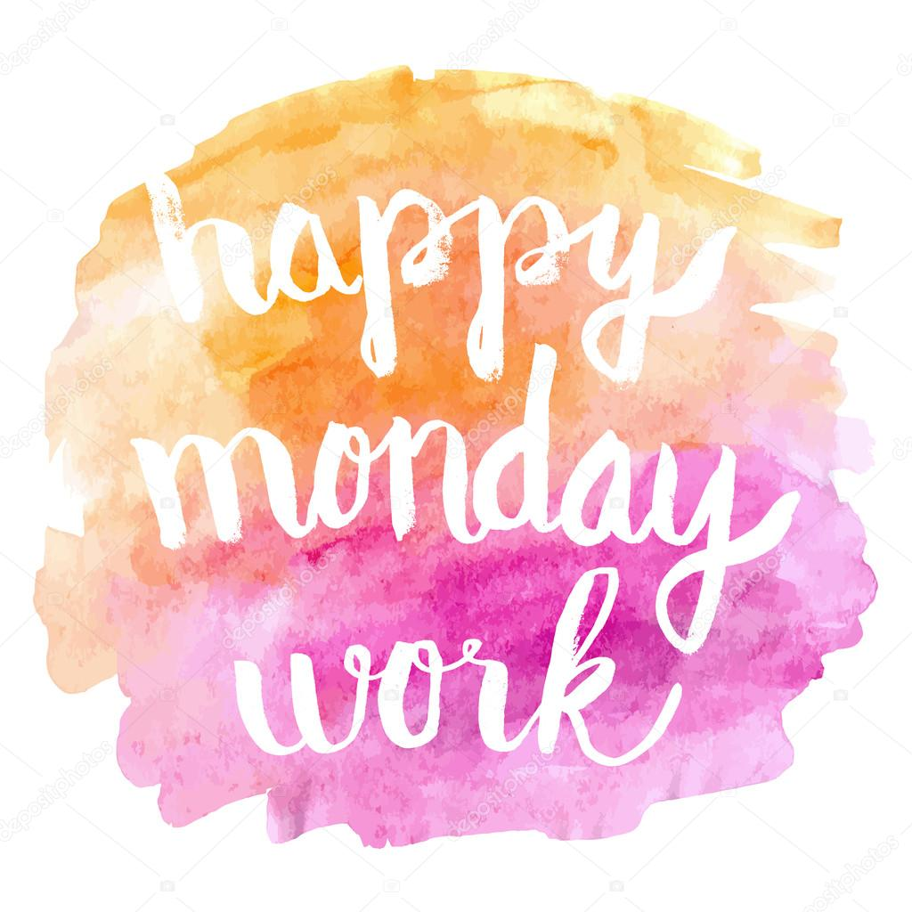 Happy monday work watercolor hand paint greeting card stock vector happy monday work watercolor hand paint greeting card stock vector m4hsunfo