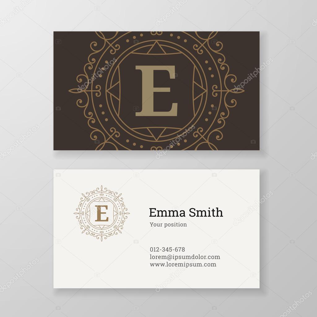 Business card monogram emblem letter E template design. — Stock ...