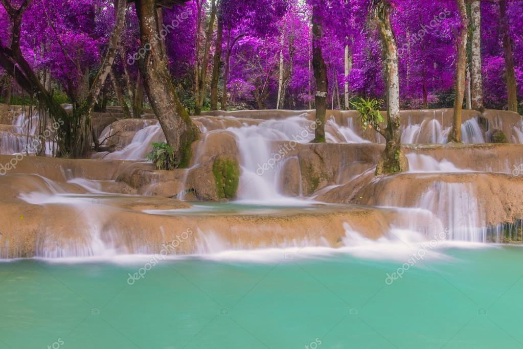 Фотообои Waterfall in rain forest (Tad Sae Waterfalls at Luang prabang, L