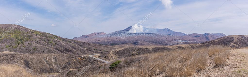 Crater of Mount Naka or Aso Mountain is the largest active volca