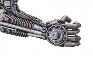 Hand of Metallic cyber or robot made from Mechanical ratchets bo