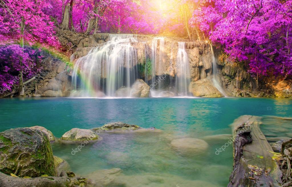 Фотообои Waterfall in Deep forest at Erawan waterfall National Park