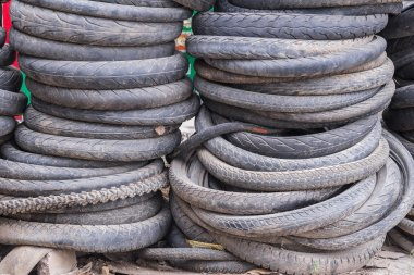 Pile of used mountain bike tires