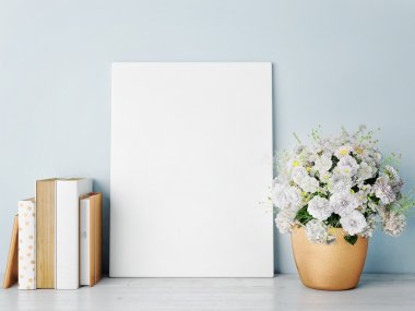 White mock up frame, rose gold-hipster background