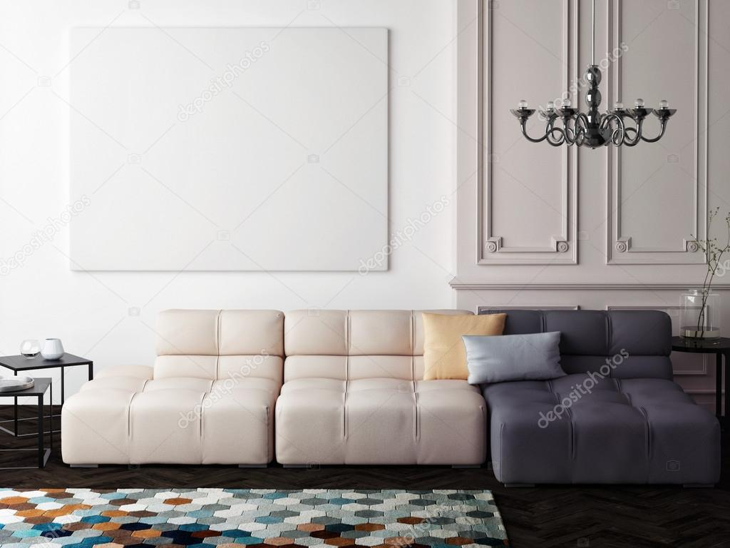 mock up blank poster on the wall of living room — Stock Photo ...