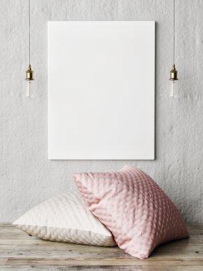 Mock up poster, close up minimalism, 3d rendering