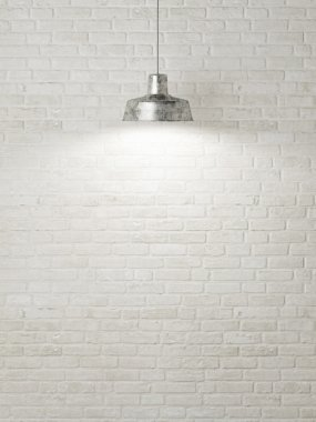 Blank white brick wall with ceiling lamp, 3D rendering