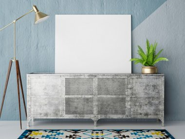 Mock up posteron retro chest of drawers, hipster interior background, 3D render
