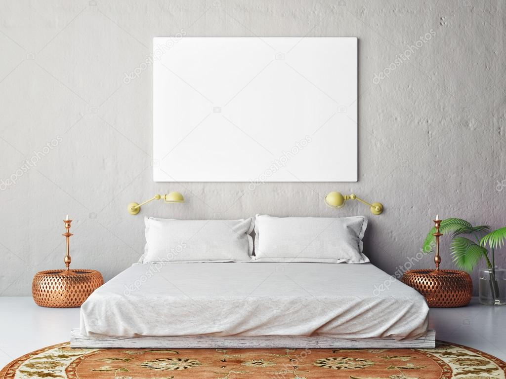 Mock Up Blank Poster On The Wall Of Bedroom 3d Illustration Stock Photo Image By C Cordesign 118696750