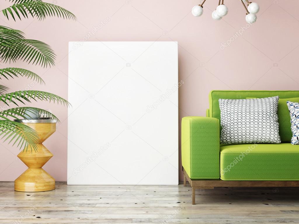 bouchent affiche vide sur salon vintage rendu 3d photographie cordesign 118697674. Black Bedroom Furniture Sets. Home Design Ideas