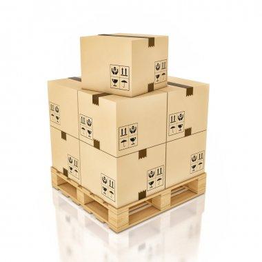 Cardboard boxes on wooden palette , 3d illustration stock vector