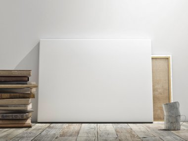 Mock up poster in white wall, wooden floor and wintge background. Horizontal concept