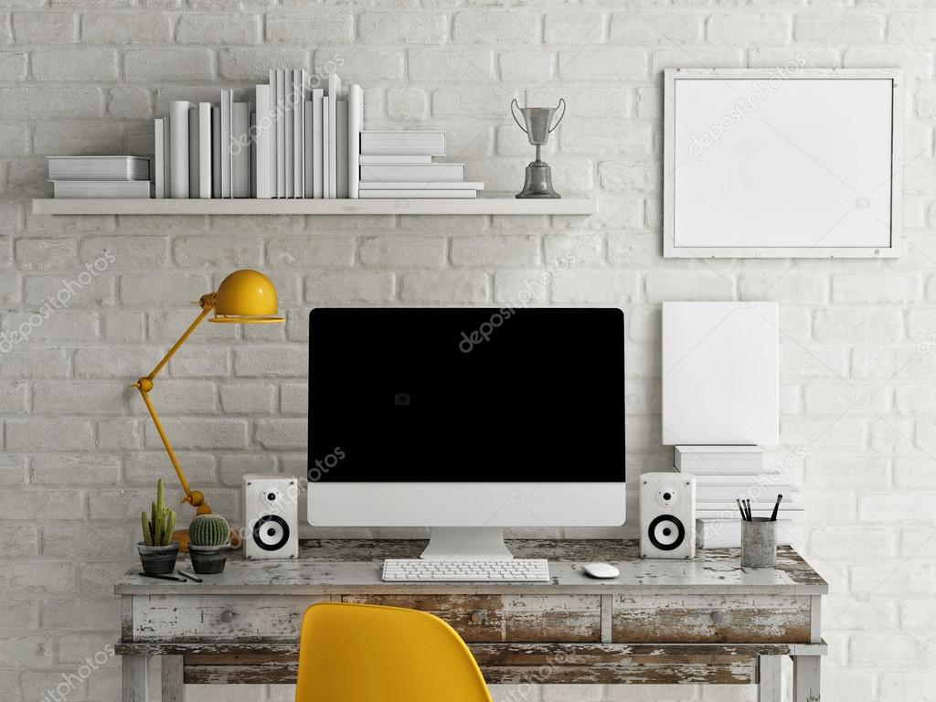 Mock Up work space, Monitor on table, 3d illustration