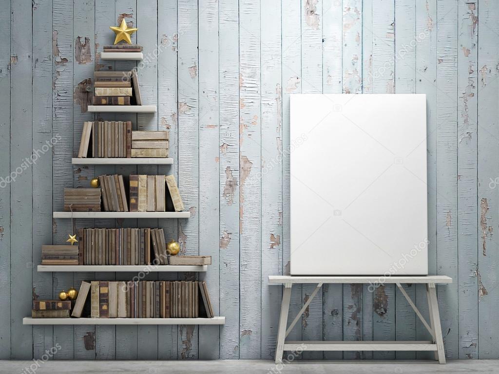 manichino di poster e libreria a forma di albero di natale