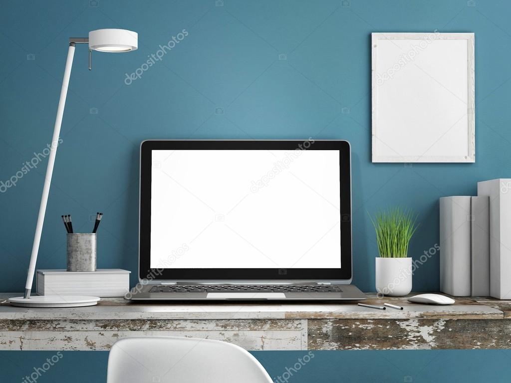Laptop on wooden table, Blue wall painted