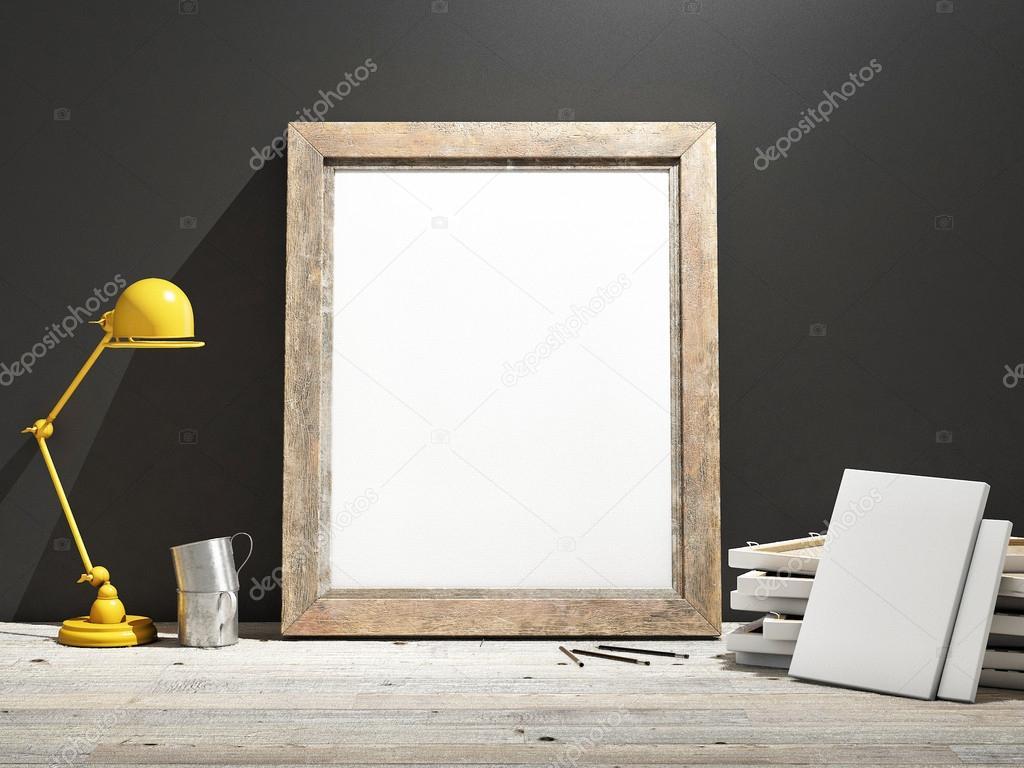 Se burlan del marco en el piso de madera, pared gris — Fotos de ...
