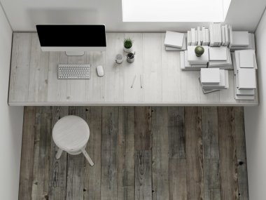 Mock up workspace, interior render