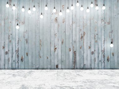 Blue wooden wall with ligh bulbs, background