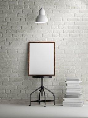 3d rendering of frame on white brick background