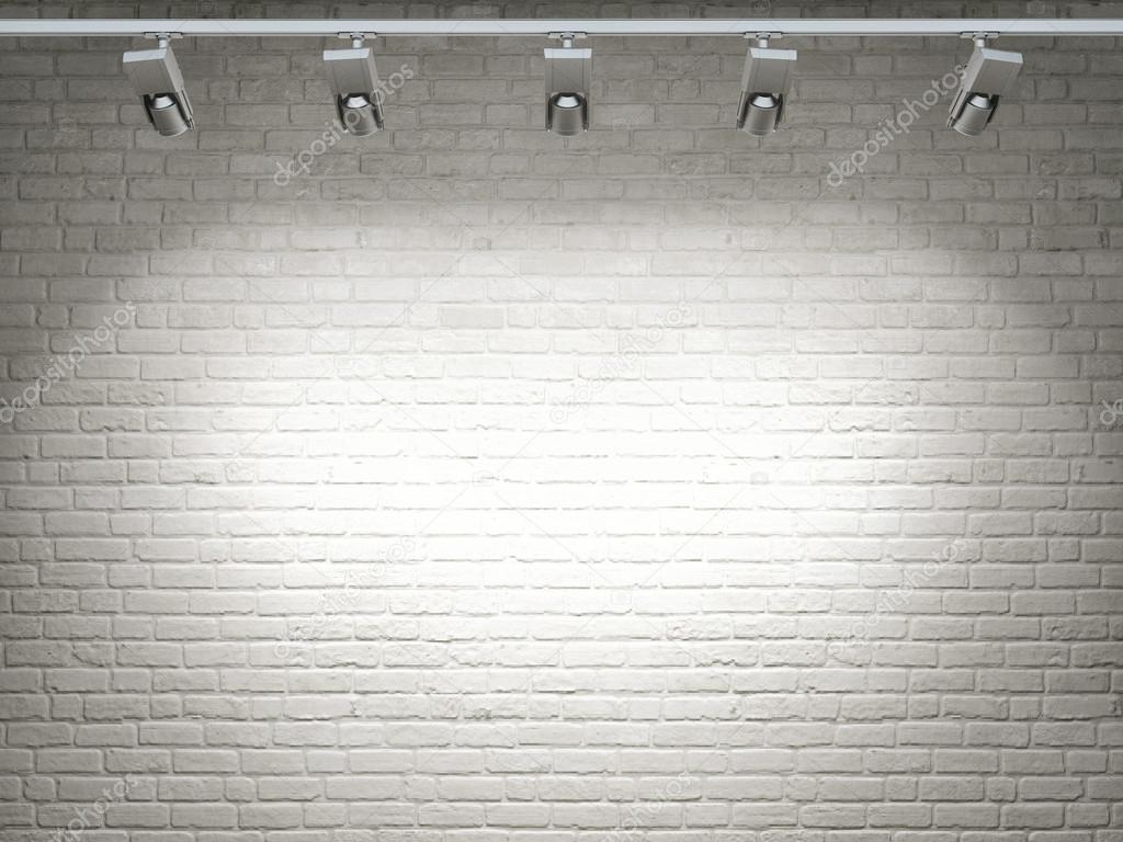 White Brick Wall Lights : White brick wall, reflector light Stock Photo ? CorDesign #61882533
