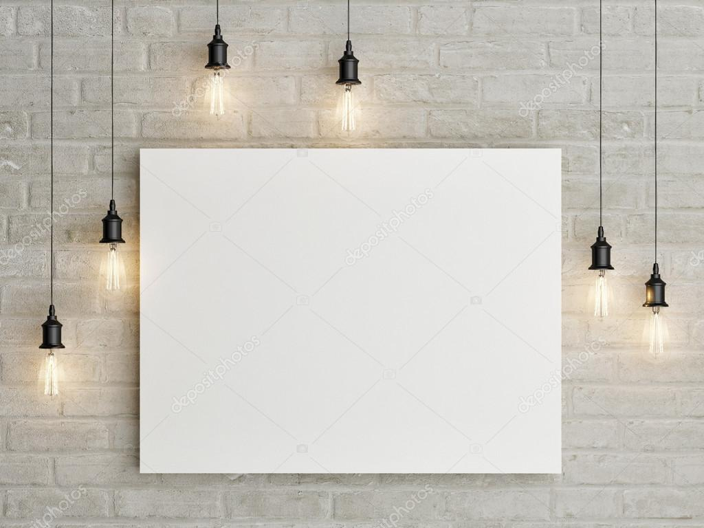 Mock up poster with ceiling lamps, 3d illustraton