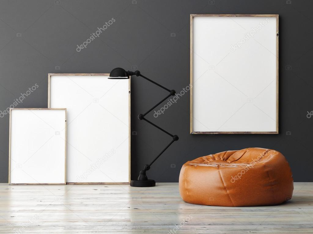 Three mock up posters on grey wall