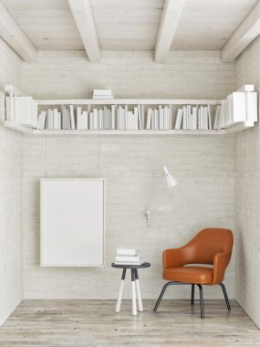 Mock up poster, bookshelf on white brick wall, 3d illustration