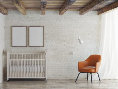 Baby room, mock up poster on  wall, 3d illustration