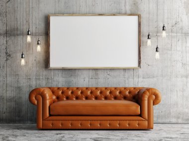 Mock up poster, leather sofa, concrete wall background